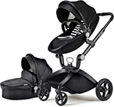 Best Baby Stroller in 2020,Hot Mom Baby Carriage with Adjustable Seat Height Angle and Four-Wheel Shock Absorption,Reversible,High Landscape and Fashional Pram,Black Review