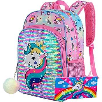 Girls Black School Backpack /& Pencil Bag Set Born Princess Print Design