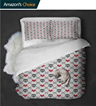 Temox High-end Hotel Quality Geometric Skulls and Hearts Crosses Stitch Work Knitted Nordic Pattern PrintGrey Red Coconut Full Size Quilt -3 Pieces (Includes 1 Quilt- 2 Pillow)
