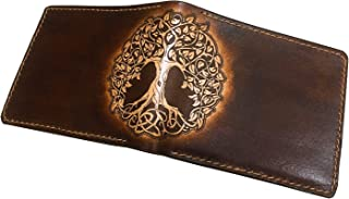Unik4art - Tree of Life Celtic leather handmade bifold men wallet special birthday anniversary boyfriend father Gifts - 1BR