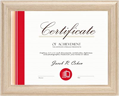 Frametory, Single 8.5x11 Natural Color Frame - Curved Bevel Design - Made to Display 8.5x11 Certificate or Picture - Real Glass (Natural, 8.5x11, 1)