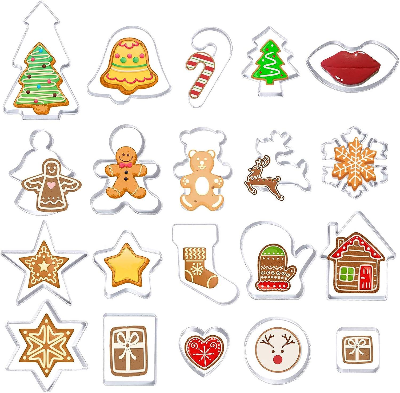20 Piezas Moldes de Galletas Navidad, Cortador de Galletas Incluye Angel Bell Reindeer Gingerbread Man para Cookie Fondant