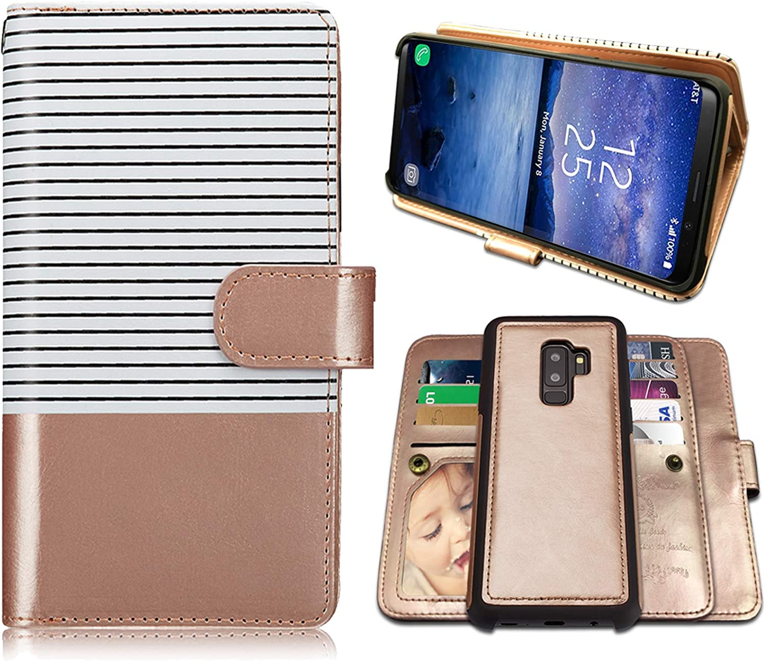 Galaxy S9 Plus Cases, Magnetic Detachable Lanyard Wallet Case with 9 Card Slots Holder, CASEOWL 2 in 1 Premium Leather Removable TPU Case Flip Wallet Case Cover for Galaxy S9 Plus (White&Rose Gold)