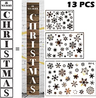 GUVVEAZ Christmas Stencils for Painting on Wood Reusable Template for Christmas Decor Fabric Canvas, Wall, Door, Window, Furniture Painting Xmas Templates (13 PCS Style B)