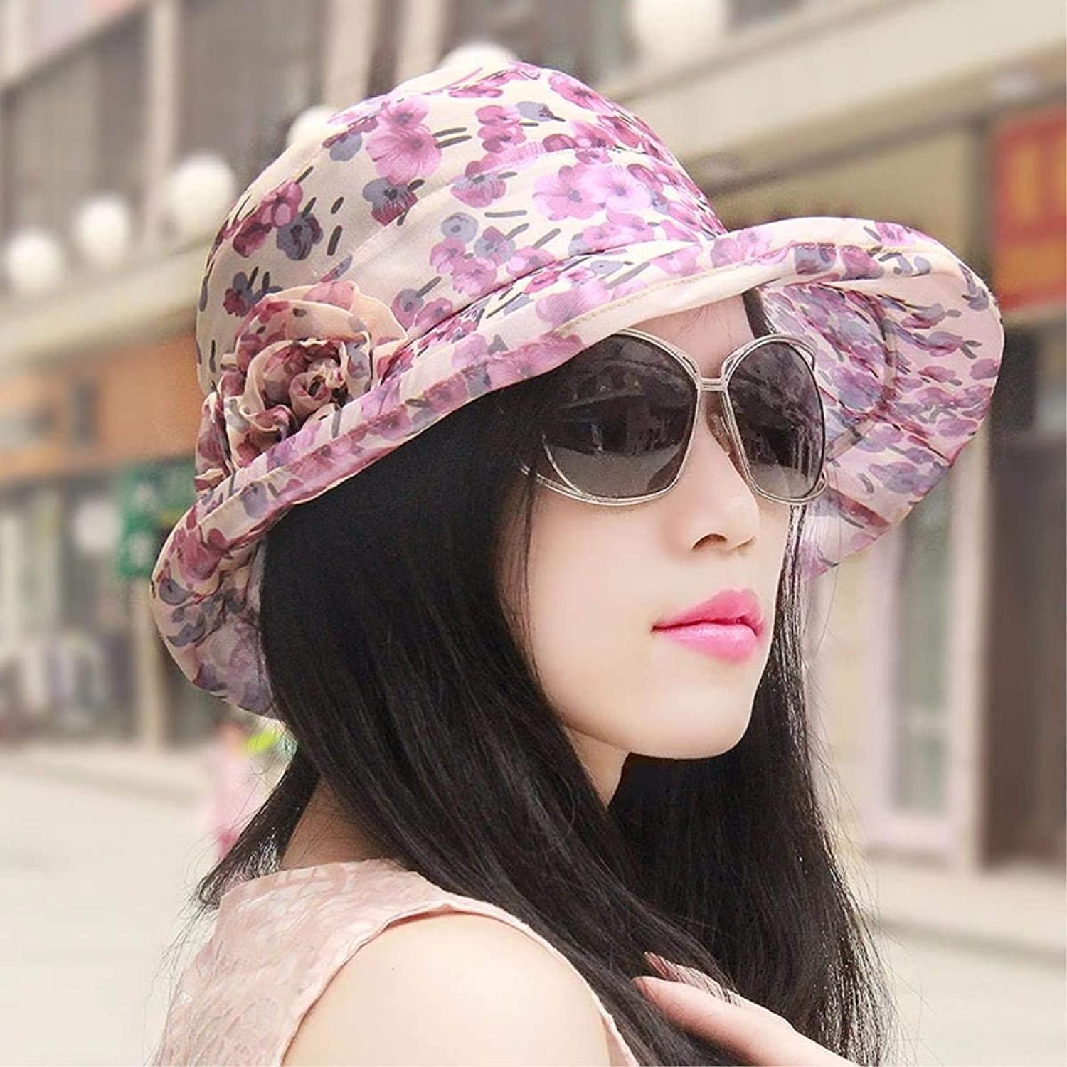 Dianye The hat female summer hats basin cap snow spinning cap, visor cool cap flowers beach cap low