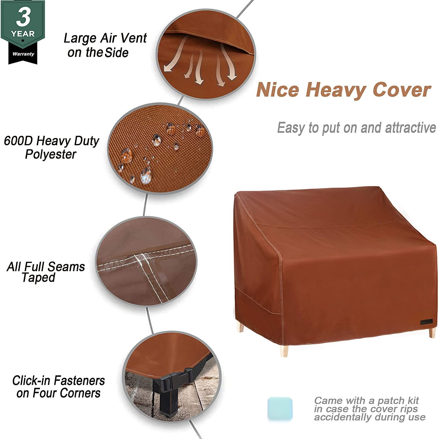 NettyPro Patio Loveseat Bench Cover 58 Inch Brown Waterproof 600D Heavy Duty Outdoor Furniture 2 Seater Sofa Cover