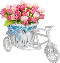Tied Ribbons Vase Cycle Shape Flower Pot With Flowers