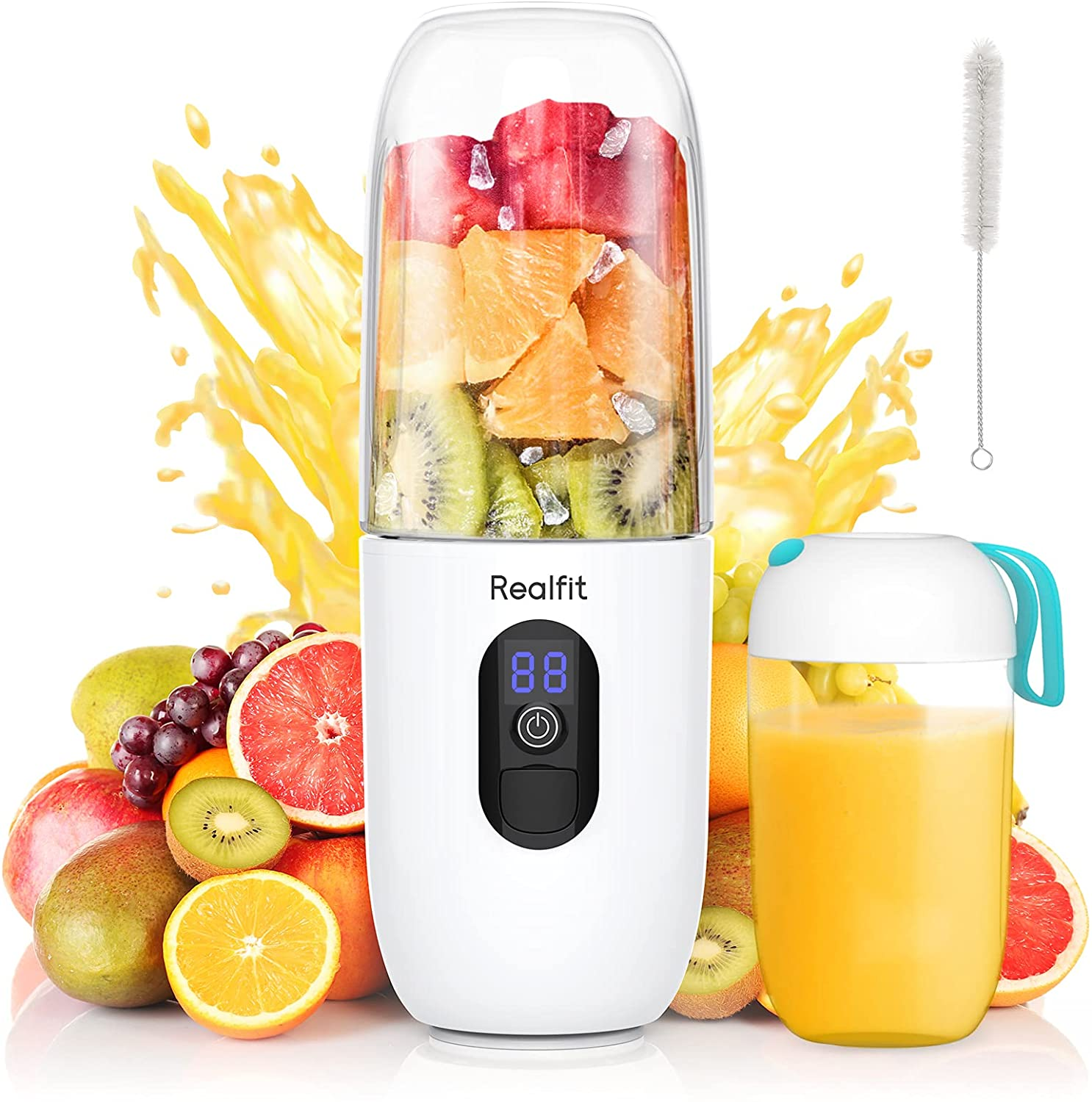 Portable Mixer Blender - Realfit Mini Portable Blender Bottles with 25000 rpm Six Blades for Milkshakes and Baby Food, 17.2 Oz Wireless USB Blender for Kitchen and Travel