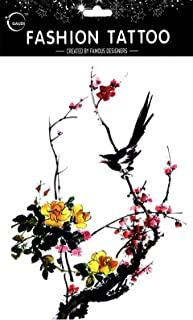 Latest new design and hot selling realistic tattoo stickers Large design black birds are resting on the tree with pink and yellow flowers realistic tattoo stickers women for chest,belly,back,leg,etc.