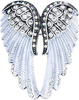 Szxc Women's Guardian Angel Wings Pendant Pin Brooches Crystal Jewelry
