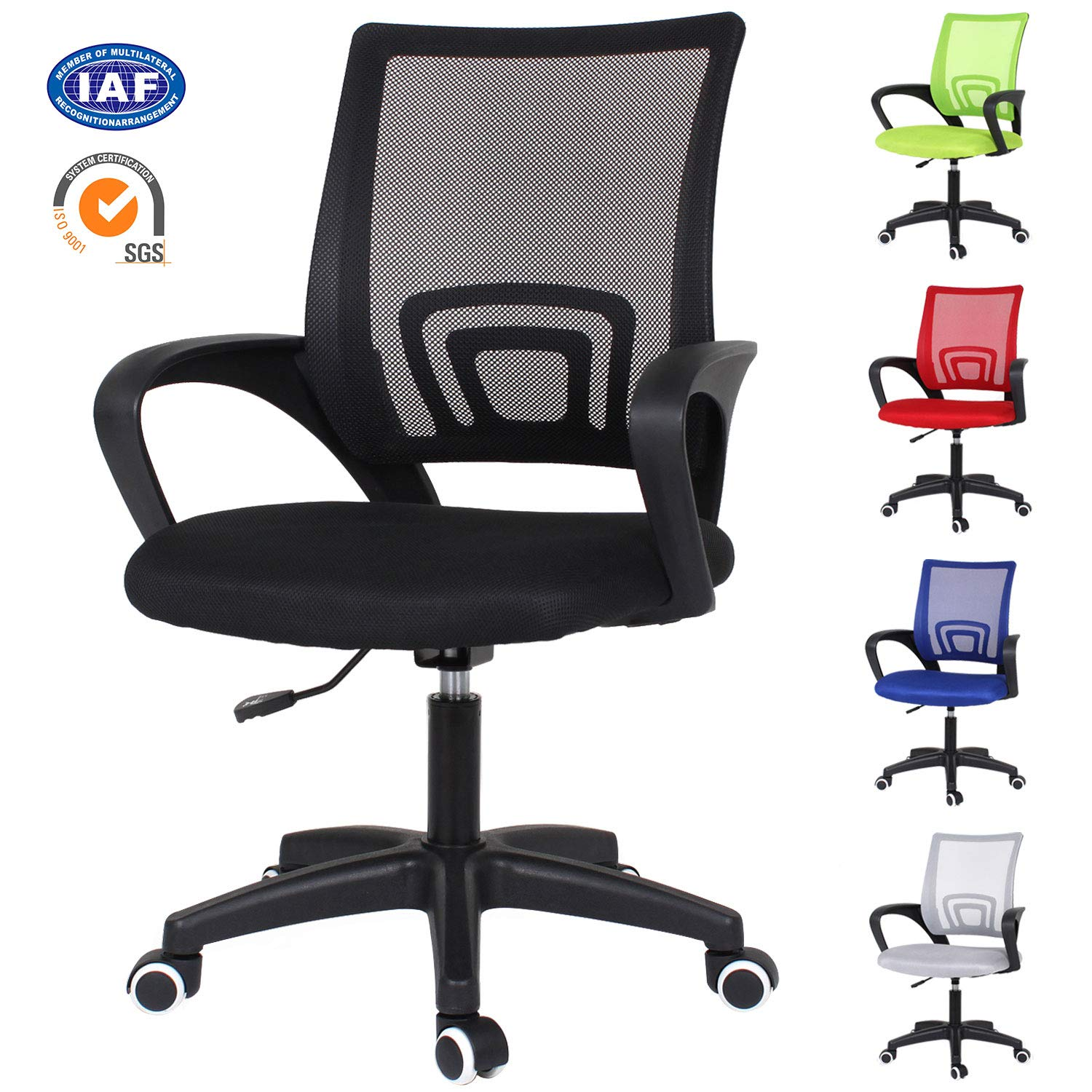 Euco Black Desk Chairs Executive Office Chair Ergonomic Adjustable Task Chair Comfy Padded Mesh Chair