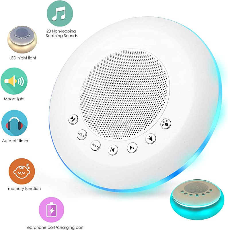 Sendcool White Noise Sound Machine For Sleeping 20 Non Looping Soothing Sounds Lullaby Colorful Night Light Timing Baby Therapy Sound Machine Auto Off Timer Battery Or USB Output Charger White