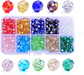 Sromay Wholesale 300Pcs 8mm Briolette Faceted AB Crystal Glass Beads for Jewelry Making Findings with Bead Container #5040 Briollete Rondelle Assorted Colors