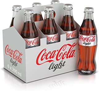 Coca-Cola Light Carbonated Soft Drink, Glass Bottle -290 ML (Pack of 6)