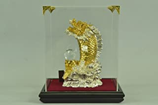 Handmade European Bronze Sculpture 24K Gold Cobra Chinese Dragon with Glass Display Large Figurine Bronze Statue -UKSHO-395GB-Decor Collectible Gift