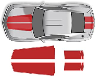 Factory Crafts Hood and Trunk Stripes Graphics Kit Vinyl Decal Wrap Compatible with Chevrolet Camaro 2010-2015 - Light Red
