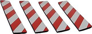 SNS SAFETY LTD Selbstklebenden Stoßdämpfende Schaumstoff Wandplatten für Garagenwand und AutoTür Schutz, 4 Stück (44cmx10cmx1,5cm, Rot Weiß)