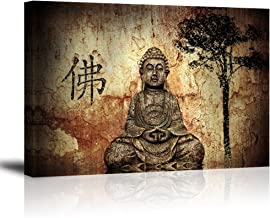 Buddha Wall Art for Living Room, PIY Peaceful Buda Statue Picture Canvas Prints, Zen Painting Home Decor (1