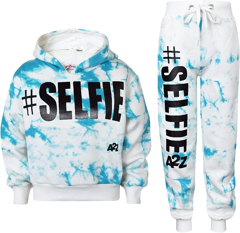 Kids Girls Jogging Suit Designer #Selfie Hooded Crop Top Bottom Tracksuit 5-13Yr