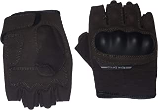 Royal Enfield Brown Faux Leather Half Riding Gloves for Men (RRGGLK000071)