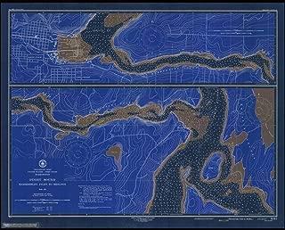 Vintography Blueprint Style 8 x 12 Nautical Map of Hammersley Inlet to Shelton 0 US Coast & Geodetic Survey 94a