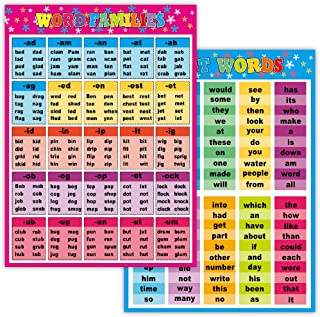 2 Sight Words and Word Families Posters - Laminated 17.3x24.3inch-Large Educational Charts for Students, Kid,Decorations, ...