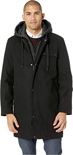 Wool Melton Parka w/ Removable Bib/Hood
