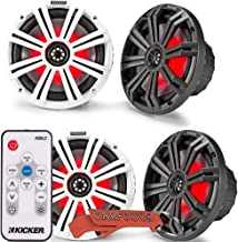 $459 » Kicker 45KM84L 8-Inch Marine Coaxial Boat Speakers 4-Pack with 41KMLC LED Remote Controller Bundle. Black and White Grille...
