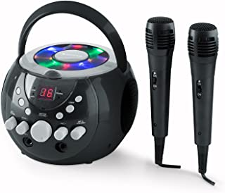 auna SingSing - Karaoke para niños , Set de Karaoke , 2 x micrófonos dinámicos , Reproductor de CD , Medios CD + G , Efecto de Eco , AVC , Salida de Video , Efecto de luz LED , Negro