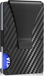 Luxdovy Carbon fiber Credit card holder with stainless steel metal Money clip RFID Blocking slim Aluminum Wallet purse for...