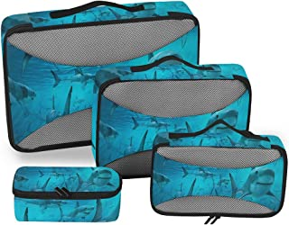 Sharks Are Super Cool Packing Cubes 4 Set Travel Organizer Accessories Storage Bag with Toiletry Bags
