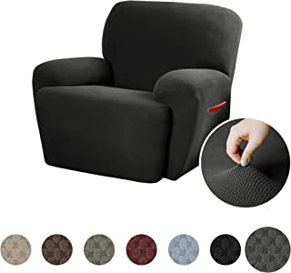 MAYTEX Pixel Ultra Soft Stretch 4 Piece Recliner Arm Chair Furniture Cover Slipcover with Side Pocket, Charcoal Grey