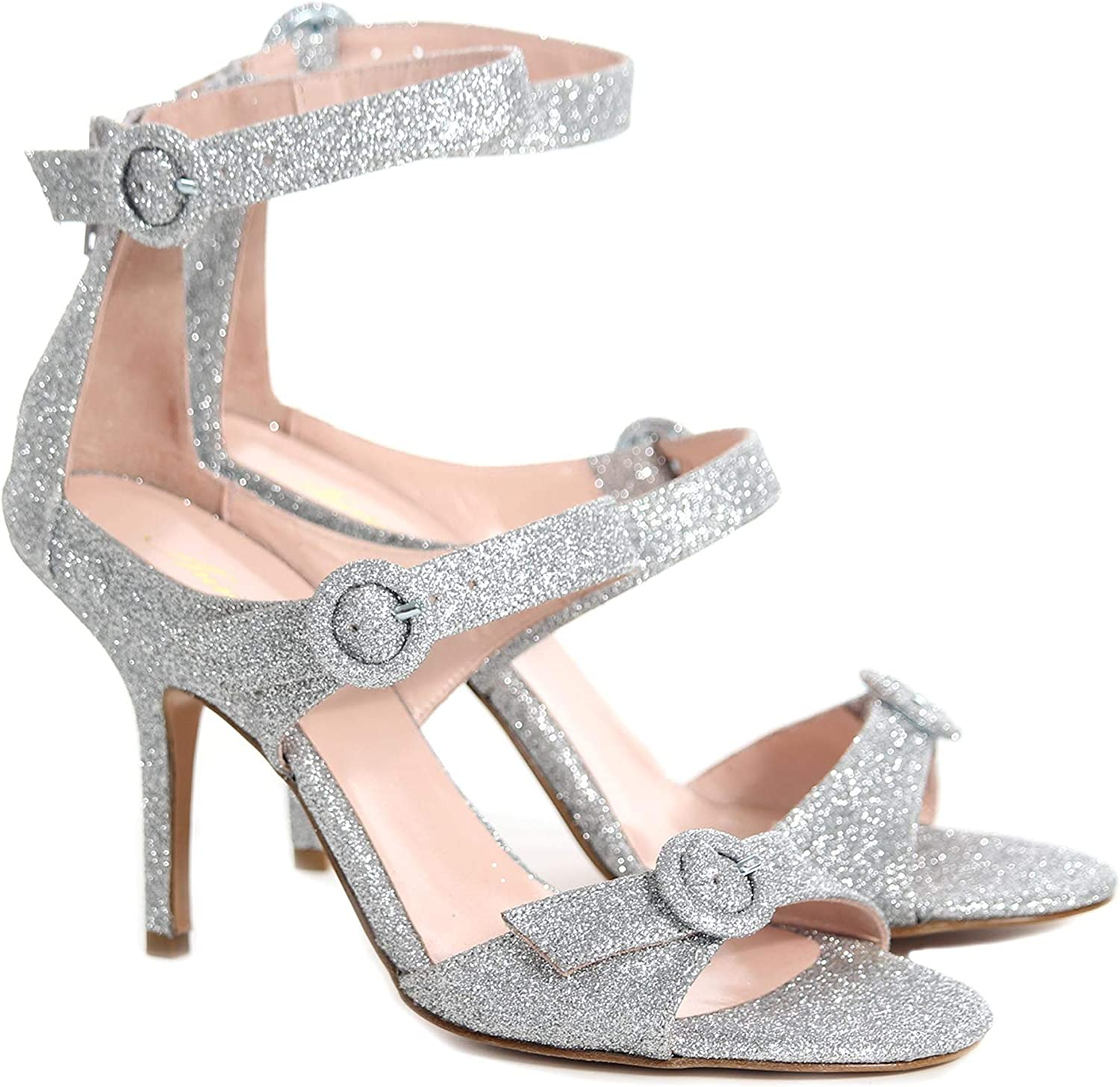 ANNA F Women's 3047 Silver Leather Sandals