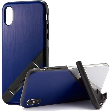 カンピーノ campino スマホケース iPhone XS ケース iPhone X ケース 対応 ヘアライン OLE stand スタンド機能 耐衝撃 スリム 薄型 動画 Qi ワイヤレス充電対応 ブルー 青