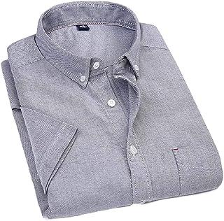 desolateness Men's Short-Sleeve Solid Cotton Shirt Casual Button Down Shirt