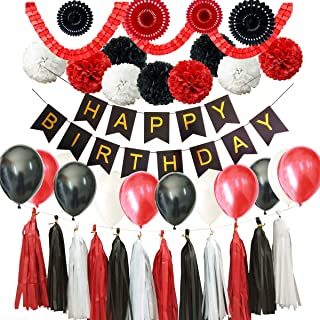 Mickey Mouse 43PCS Red Black White Happy Birthday Minnie Mouse Baby Shower Party Decoration Supply Kit Happy Birthday Banner Tissue Paper Pom Pom Paper Fan Tassel Garland Latex Balloon Clover Garland