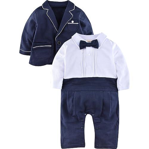Zoerea 2pcs Neonati Signori Pagliaccetto + Coat Wedding Tuxedo Abiti  Battesimo per 3-18 Mesi b48a08f25bb