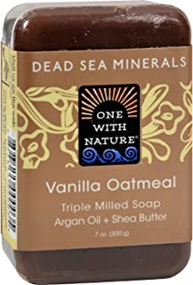 One With Nature Dead Sea Mineral Vanilla Oatmeal Soap - 7 oz (3 Pack)