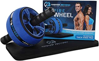 INSPIRE AB ROLLER WHEEL, The Perfect Gym Fitness Workout Training Wheel Ab Carver Pro Roller For 6 Pack Abs & Core Workout, Advanced Non-Slip Rubber & Extra Thick Knee Pad Comfortable Foam Grip Handle