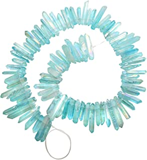 Top Plaza Natural Raw Rock Crystal Quartz Rough Crystals Points Titanium Coated Sticks Spikes Irregular Drilled Loose Beads 15-16'' Strand(Rough AB Color+Aquamarine)