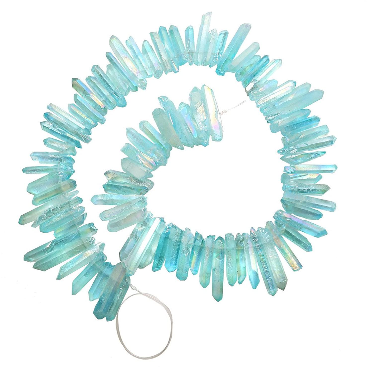 Top Plaza Natural Raw Rock Crystal Quartz Rough Crystals Points Titanium Coated Sticks Spikes Irregular Drilled Loose Beads 15-16'' Strand(Rough AB Color+Aquamarine)