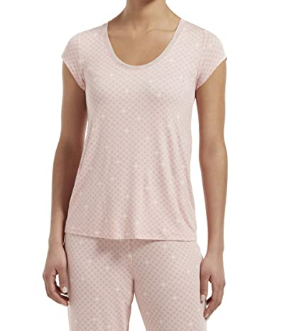 HUE Plus Size Join The Dots Short Sleeve Sleep Tee (Calming Rose) Women