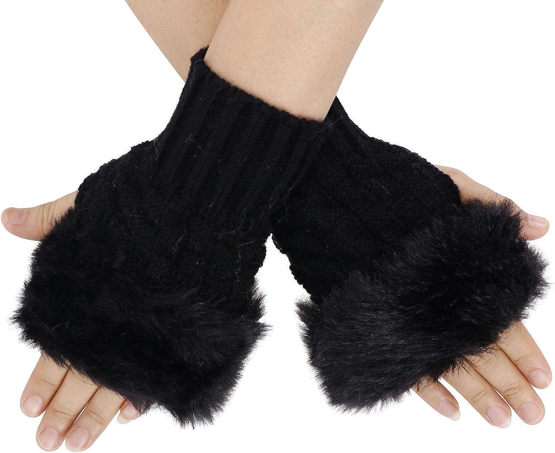 Women's Faux Fur Arm Warmers Cable Knit Fingerless Gloves Winter Mitten