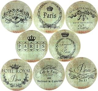 Set of 8 Paris Address Label Wood Cabinet Knobs