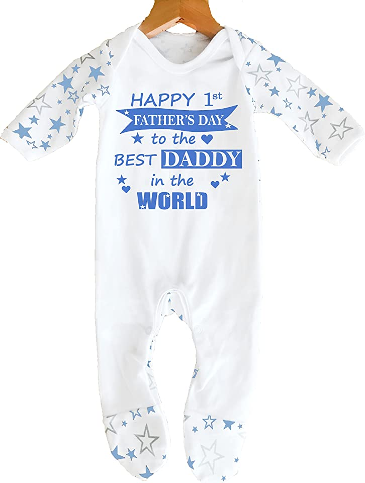 Happy Father's Day To The Best Daddy in the World' Baby Boy Girl Father's Day Sleepsuit Designed and Printed in the UK Using 100% Fine Combed Cotton