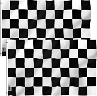Anley Pack of 2 Fly Breeze 3x5 Foot Checkered Flag - Vivid Color and UV Fade Resistant - Canvas Header and Double Stitched - Black and White Racing Flags Polyester with Brass Grommets 3 X 5 Ft