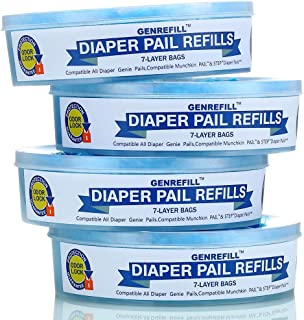 Diaper Genie Refill, Compatible with Diaper Genie Pails 1120 Supply 4-6 Months(4 Pack)