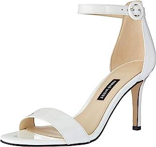 NINE WEST Women's Fashion Sandal Heeled, White, 6 M US