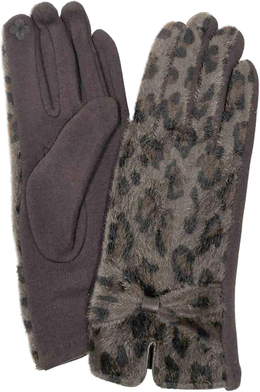 Womens Brown Leopard Print Faux Fur Stretch Fit Text & Tech Touchscreen Gloves