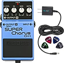 Boss CH-1 Classic Stereo Super Chorus Pedal Bundle with Blucoil Power Supply Slim AC/DC Adapter for 9 Volt DC 670mA and 4 Pack of Guitar Picks